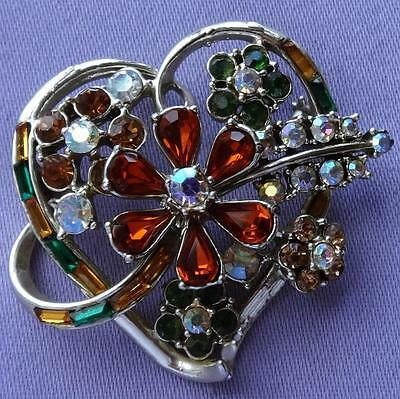 Vintage Amber Green Aurora Glass Stone Floral Heart Brooch