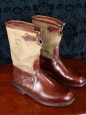 Rare Mens Vintage Jc Cordings Hobnail Wwii Boots Leather Canvas Museum??
