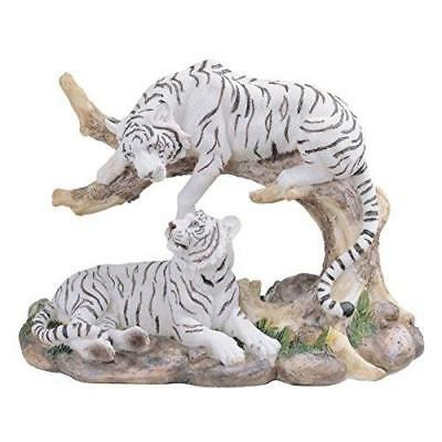7-Inch Medium Polyresin White Tiger Couple Resting Figurine New