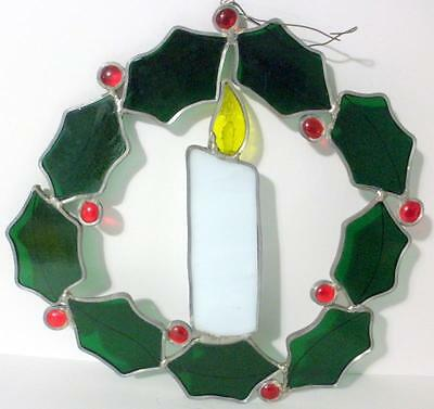 Vintage Leaded Stained Glass Christmas Candle In Holly Wreath Window Hang