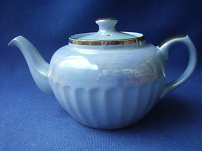 STAFFORDSHIRE - TEA FOR TWO SIZE 1940s FLUTED LUSTRE TEAPOT - GILDED TRIM - VGC
