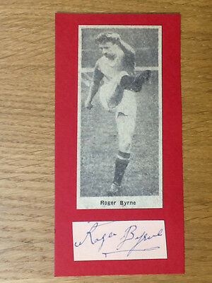 Roger Byrne signed card Manchester United autograph Busby Babe original picture