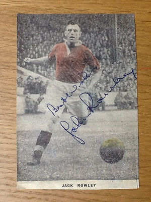 Fantastic Jack Rowley signed picture Manchester United autograph 1937-1954