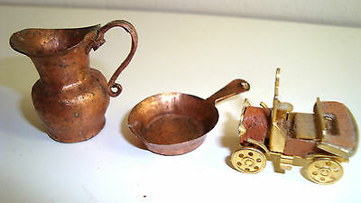 Miniature Dolls House Copper Pan And Jug And Model T Ford Car