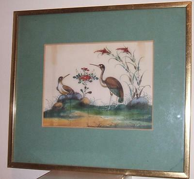 ANTIQUE CHINESE RICE PAPER PITH PAINTING BIRDS FRAMED - No.1