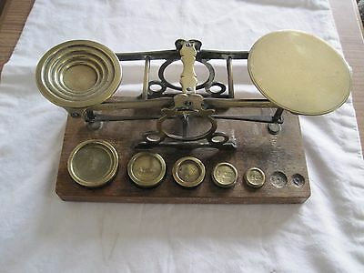 ANTIQUE BRASS POSTAL POSTAGE SCALES by S. MORDAN & Co LONDON PLUS SOME WEIGHTS