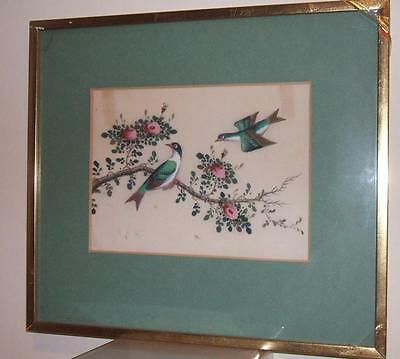 ANTIQUE CHINESE RICE PAPER PITH PAINTING BIRDS FRAMED - No.2