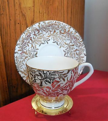 Vintage Royal Seagrave Bone China Cup and Saucer - White w/ 12K Gold Leaf