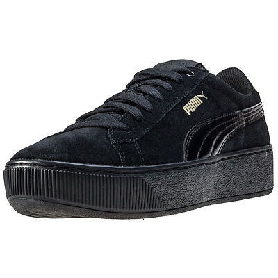Puma Vikky Platform Womens Trainers Black Black New Shoes