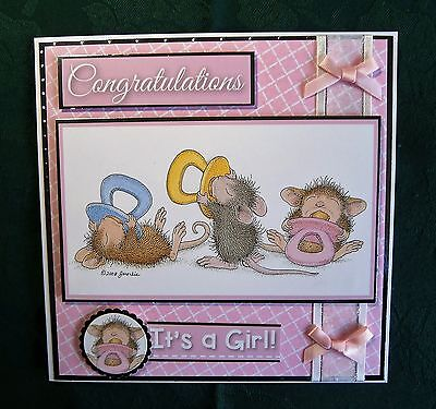 Decoupage `House Mouse` card for a New Baby Girl