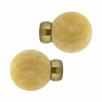 Pair Of 28mm Swish Sandstone Ball Curtain Pole Finials - Burnished Brass