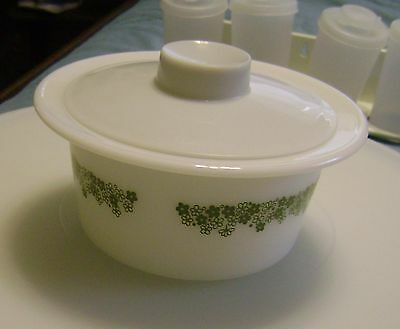 Corelle Pyrex Spring Blossom Green Crazy Daisy BUTTER TUB BOWL DISH with LID