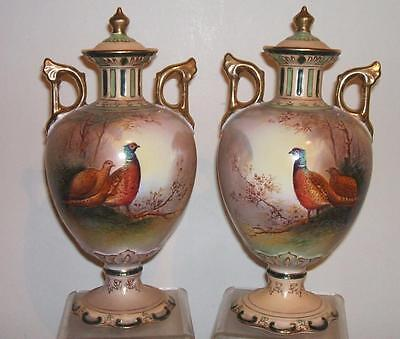 Superb Crown Devon Pair Of Hand Painted Signed Coleman Pheasant Vases & Covers