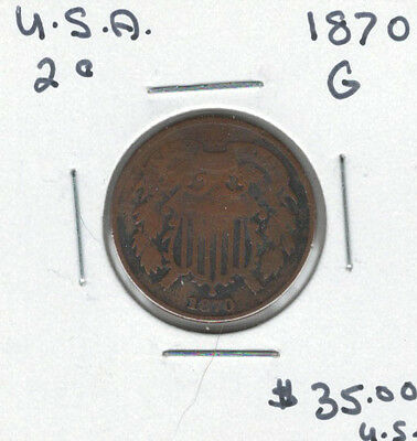 United States USA 1870 2 Cents G