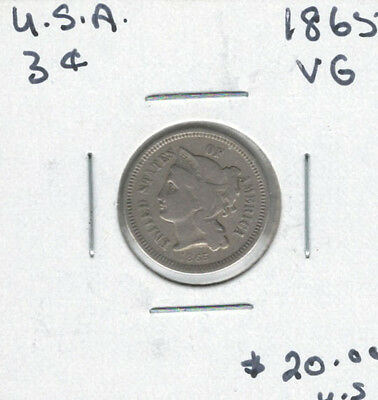 United States USA 1865 3 Cents VG