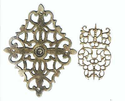 2 Solid Brass Escutcheons - Old and Ornate
