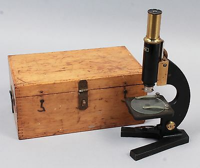 Antique c1900 Germany Zeiss Jena Brass Lacquer Wooden Cased Microscope