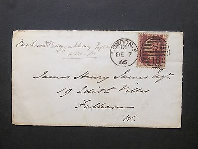 GB 1866 QV 1d red Envelope S 16 LONDON Duplex postmark to Fulham