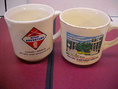 2- BOY SCOUT MUGS CUPS Canoeing Charles Sommers Northwoods Adventure WISC.