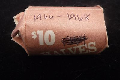 20 Coin Roll of 1966, 1967 and 1968 Kennedy Half Dollar Coins. Silver $10 Face