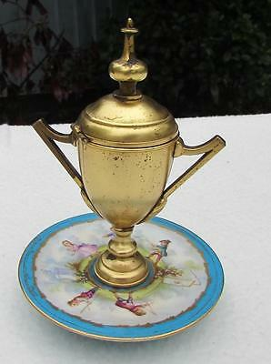 FINEST RARE 19thC SEVRES STYLE GILT METAL HAND PAINTED URN / MATCH HOLDER