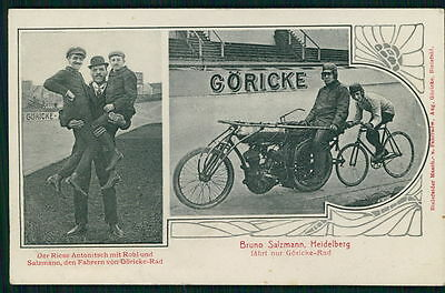 Circus giant freak & Motorcycle Bruno Salzmann Bicycle Motor-paced Race cycling