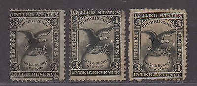 **US Match & Medicine Revenue Stamp, SC# Rs96a, b & d, CV $10.00