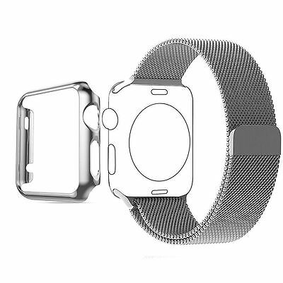 Biaoge Apple Watch Band Steel Milanese Loop Replacement Wrist Band Silver 38mm