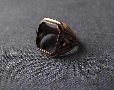 Antique Spaces For Stones Decorated Sides Gold Filled Large Ring  Size 7 1/2