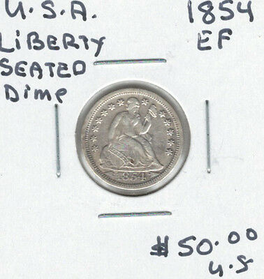 United States USA 1854 Dime 10 Cents EF Liberty Seated