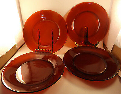 "Anchor Hocking Ruby Red Four 9 1/4"" Dinner Plates"