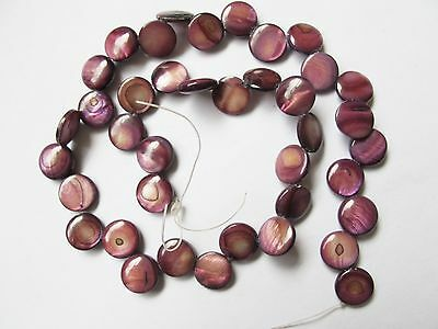 "Mother of pearl shell MOP purple brown 11mm flat coin beads 15"" top drilled"