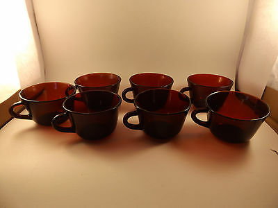 Anchor Hocking Ruby Red 7 Coffee Cups