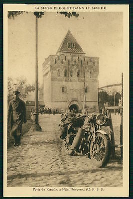 Motorcycle Peugeot in Russia Nizhny Novgorod original old 1930s postcard France