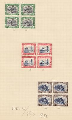 South West Africa # 108-110 Mnh/mh Blocks Of 4 Cat Value $35+