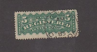 CANADA # F2i 5cts REGISTRATION WITH SON LONDON DATED 1885 CANCEL NICE