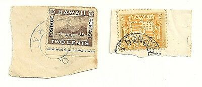 Hawaii 2 19th century used stamps on paper, arms 1x1c 1x2c (1082)
