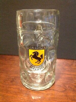 Stuttgart German American Volksfest Large Glass Beer Stein/Mug Man Cave Item