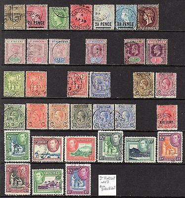 St. Vincent QV-KGVI Used Selection (35 Different Stamps)