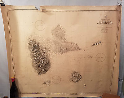 Original 1881 Map Chart Guadeloupe And Adjacent Islands No Reserve