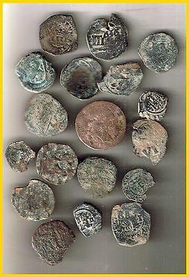 LOT(A)  18 SPANISH  ANCIENT COINS OF DIFERENT TIMES-MEDIEVAL-COLONIAL-etc.