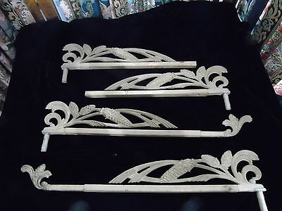 Vintage swing curtain Rods - 2 complete 2 missing half pinecone design .  early