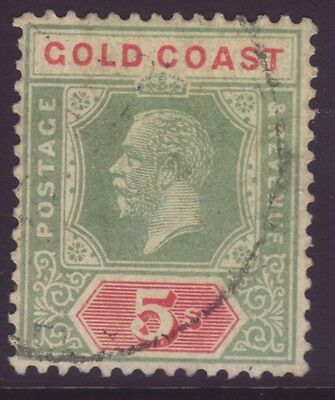GOLD COAST, 5s GREEN AND RED ON PALE YELLOW, DIE II, SG82f, USED, 1921