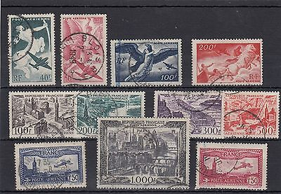 France.11 -- Used 1940's /50's Used High Face Value Stamps On Stockcard