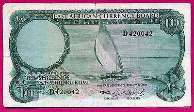 East African currency Board ( P#46 ) billet 10 shillings ~ b/tb ~ 1964 .