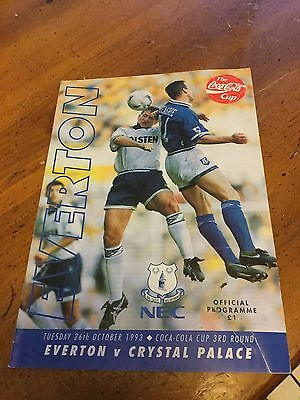 Everton V Crystal Palace 26 Oct 93 Coca Cola Cup 3Rd Round