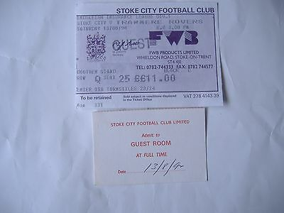 Stoke City v Tranmere Rovers, Guest Ticket+Extra, ( 13/8/1994)