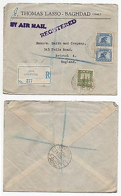 1946 IRAQ Registered Air Mail Cover BAGHDAD To BRISTOL UK Commercial SG217 SG226