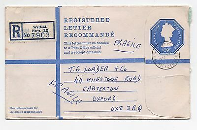 1970's GB QEII Registered Cover LEAVESDEN GREEN WATFORD To CARTERTON OXFORD 69p