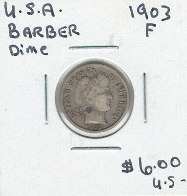 United States USA 1903 Dime 10 Cents F Barber